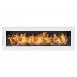 Biokominek Nice-House biały 120x40cm z szybą bezpieczne palniki z regulacją ognia