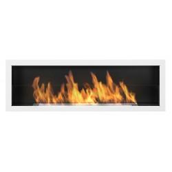 Biokominek Nice-House S-Line 3D biały połysk 120x40cm z szybą z szeroką linią ognia 800mm